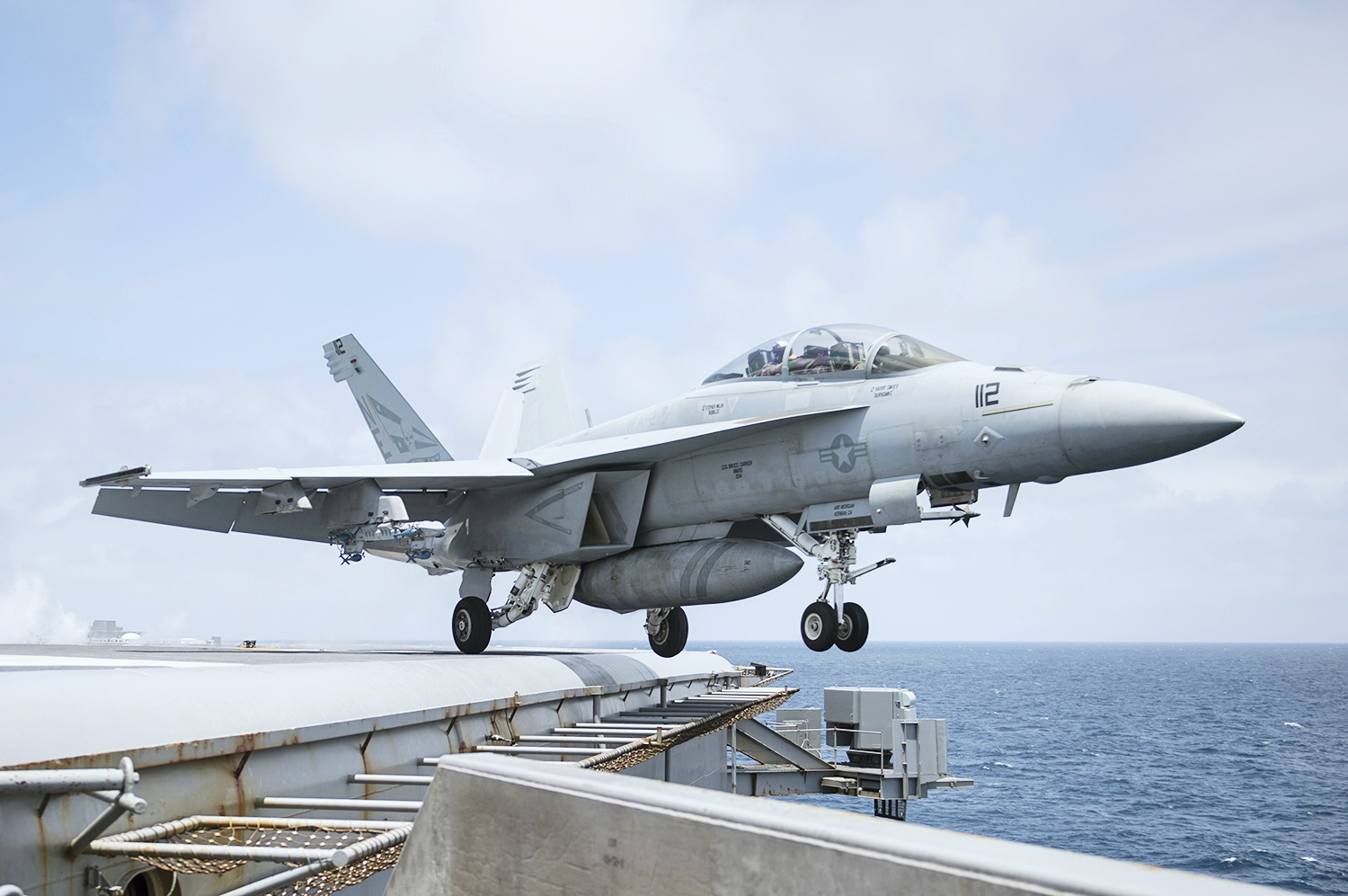 150926-N-YB023-085 PACIFIC OCEAN (Sept. 26, 2015) An F/A-18F Super Hornet from the Bounty Hunters of Strike Fighter Squadron (VFA) 2 launches from the flight deck of the aircraft carrier USS George Washington (CVN 73). George Washington is preparing to deploy around South America as a part of Southern Seas 2015. The eighth deployment of its kind, Southern Seas seeks to enhance interoperability, increase regional stability, and build and maintain regional relationships with countries throughout the region through joint multinational and interagency exchanges and cooperation. (U.S. Navy photo by Mass Communication Specialist Seaman Clemente A. Lynch/Released)