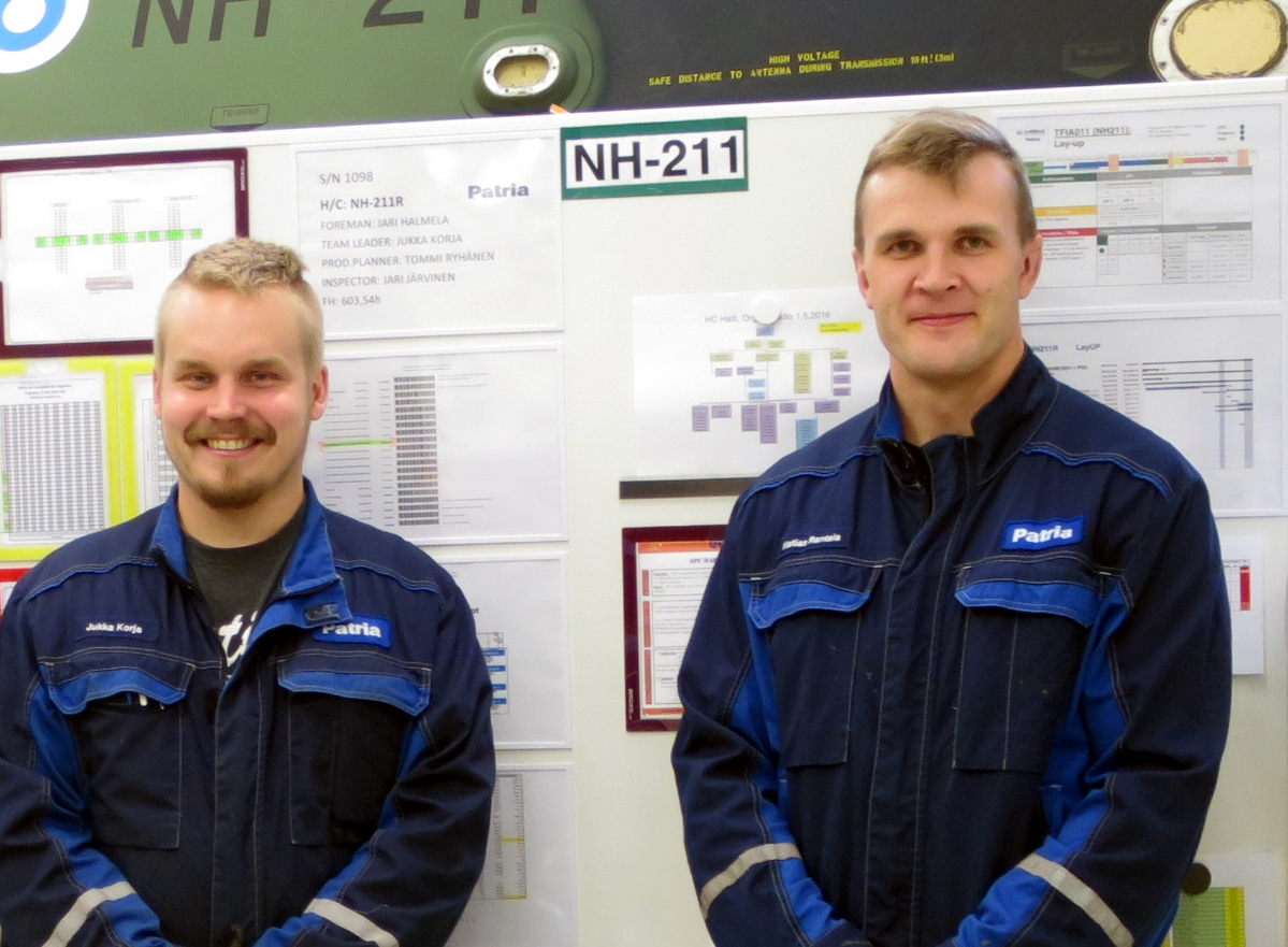 Technicians team leaders Jukka Korja and Matias Rantala have also familiarised themselves with Lean methods while completing their special vocational qualifications.